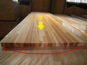 木材の反りを直している様子