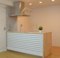 ゴム集成材キッチンカウンターの天板と側板