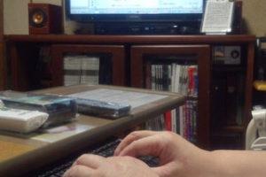 ナラ積層材のキーボードスライドテーブル