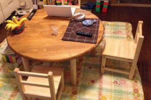 メルクシパイン集成材の子供用椅子木工キット完成写真!