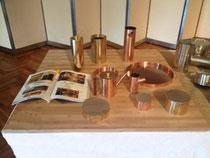 実演販売用の竹積層材ディスプレイ台