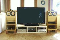桧-無節-集成材の自作テレビ台