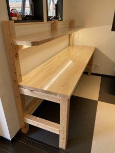 桧(無節)積層材(集成材)フリー板の学習机